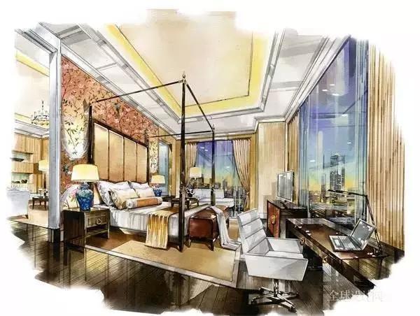 星级酒店室内设计手绘效果图!